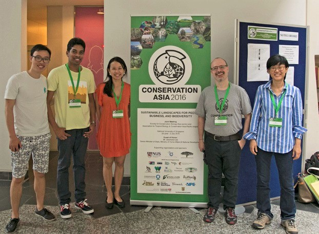 Guangxi University researchers at the ATBC (Association for Tropical Biology and Conservation) Asia Chapter meeting, held jointly with SCB (Society of Conservation) Asia Chapter meeting in Singapore 2016.  From BCECB: Myung-bok Lee, JIANG Demeng, and Eben Goodale. Also shown: Alison Wee and Nalaka Geekiyanage, both associated with the Plant Physiology and Evolution Group.