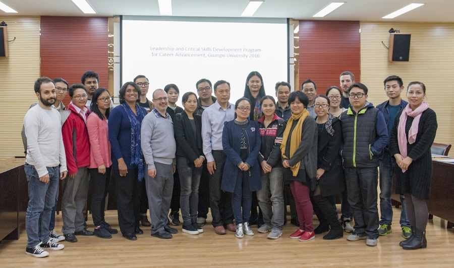 A workshop on international career development for Guangxi University researchers, organized by Uromi Manage Goodale in December 2016.